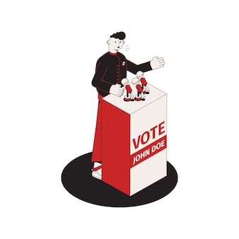Composição isométrica eleitoral com imagem isolada da tribuna com ilustração de candidato a falar