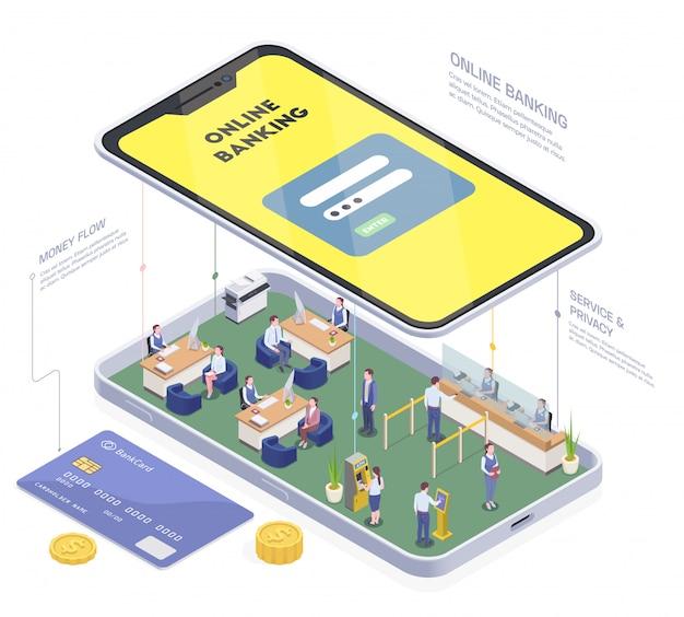 Composição isométrica financeira bancária com imagem conceitual de telefone com pessoas interiores de agência bancária e ilustração vetorial de texto