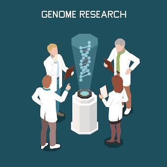 Composição isométrica genética com ilustração de equipamento de laboratório