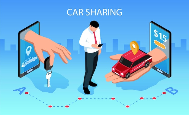 Composição isométrica horizontal de compartilhamento de carro com aplicativos de smartphones móveis entregando a chave do veículo para ilustração do cliente