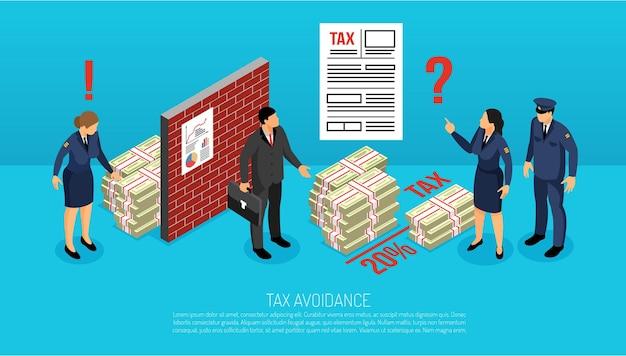 Composição isométrica horizontal de evasão fiscal com inspetores descobrindo contribuições ilegalmente evitadas intencionalmente pelo gerente de negócios