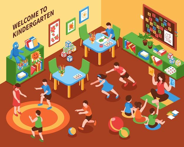 Composição isométrica interior de jardim de infância