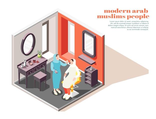 Composição isométrica interior de salão de beleza árabe moderno com estilista aplicando maquiagem em uma cliente muçulmana