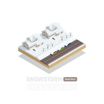Composição isométrica isolada de banner de desastre natural com tempestade de neve na descrição da cidade e leia mais ilustração de botão,