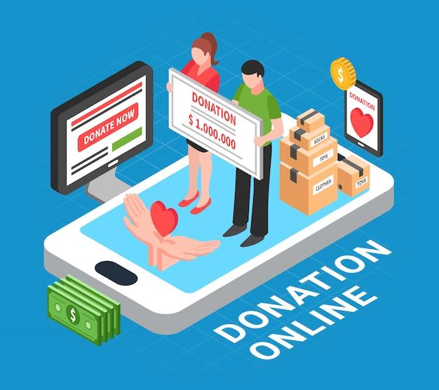 Composição isométrica on-line de doação com coração em palmas das mãos humanas e pessoas realizando ilustração vetorial de unidade de doação