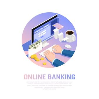 Composição isométrica redonda de contabilidade com banco on-line para renda e pagamento