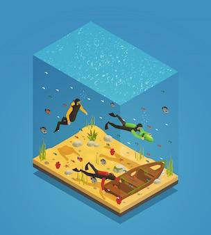 Composição isométrica subaquática de mergulhadores