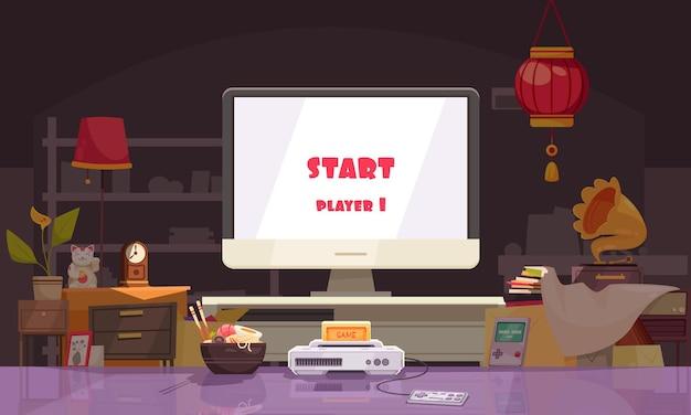 Composição japonesa com sala de estar interna com macarrão e console de videogame com tela de jogo