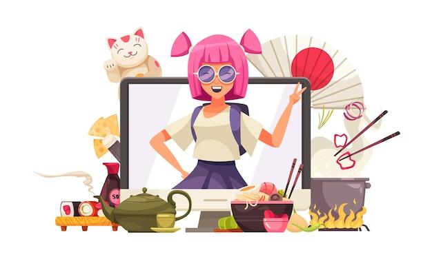 Composição japonesa com tela de computador e garota de anime cercada por jogos de chá de sushi e gatos kawaii