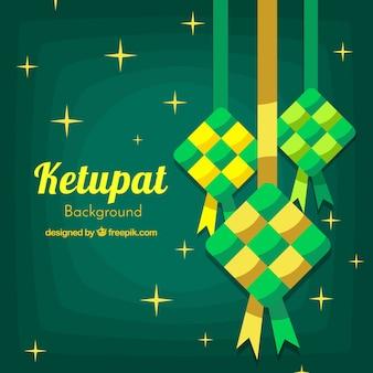 Composição ketupat tradicional com design plano