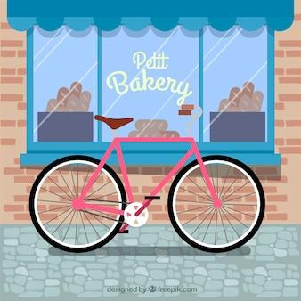 Composição linda com bicicleta e padaria