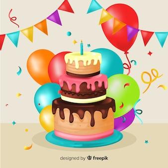 Composição linda festa de aniversário