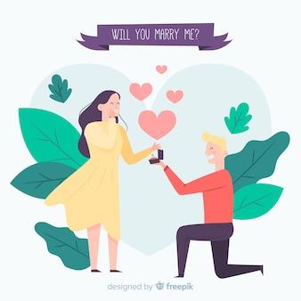 Composição linda proposta de casamento com design plano