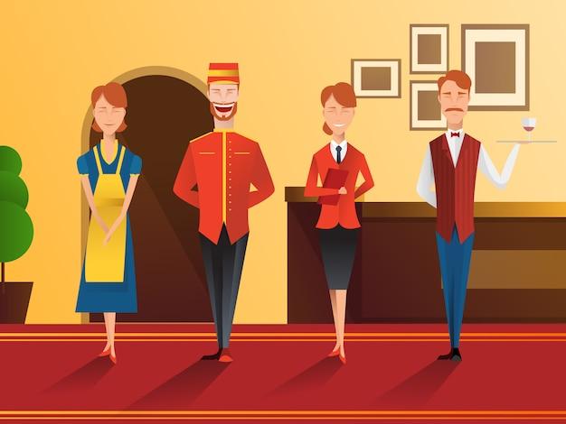 Composição lisa de pessoal de sorriso do hotel
