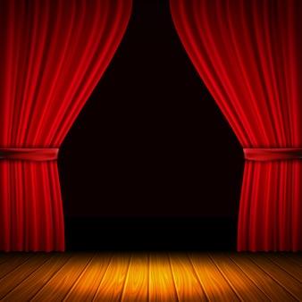Composição moderna com cortina vermelha luz e sombra no meio de cortinas e ilustração vetorial de piso de madeira