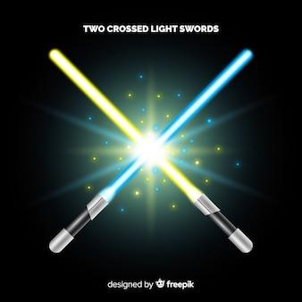 Composição moderna com duas espadas de luz cruzadas