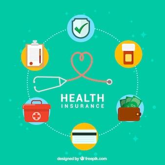 Composição moderna com ícones de seguros de saúde