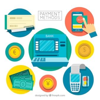 Composição moderna com métodos de pagamento em círculos