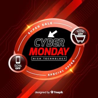 Composição moderna cyber segunda-feira com design realista