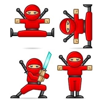 Composição ninja em diferentes poses, formato eps 10
