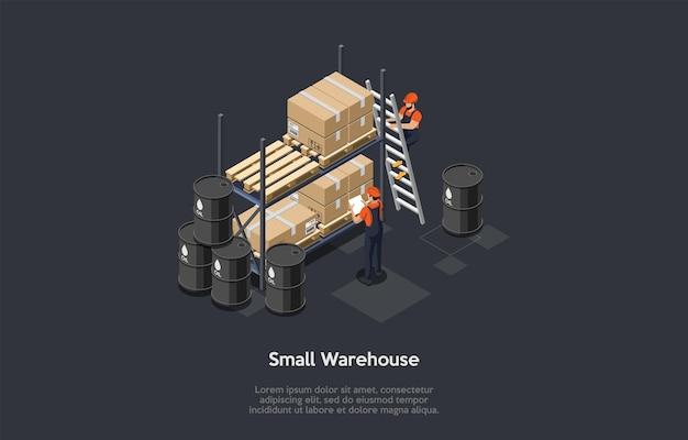 Composição no fundo escuro com infográficos. ilustração vetorial isométrica, objetos de estilo dos desenhos animados 3d. armazém pequeno, negócios pessoais. dois trabalhadores em uniforme, barris de óleo, caixas de papelão.