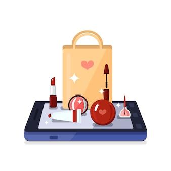 Composição on-line de loja de beleza