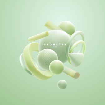 Composição orgânica abstrata de aglomerado de formas geométricas verdes pastel de hortelã em 3d Vetor Premium