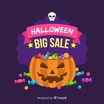 Composição original da venda do dia das bruxas com design plano