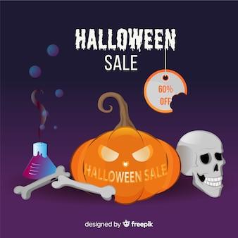 Composição original da venda do dia das bruxas com design realista
