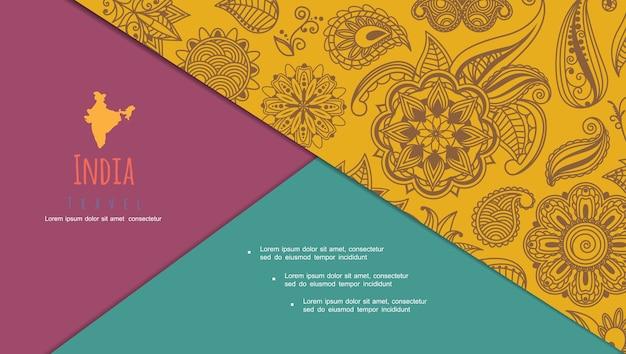 Composição ornamental indiana abstrata vintage