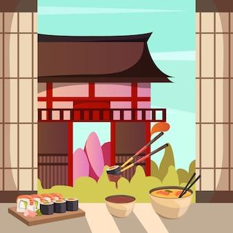 Composição ortogonal de arquitetura de alimentos do japão