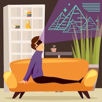 Composição ortogonal de realidade virtual das pirâmides