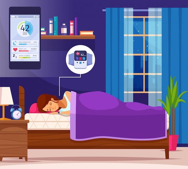 Composição plana agradável para dormir