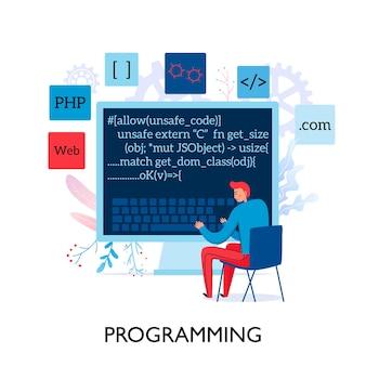 Composição plana com ilustração de programas de teste de programador