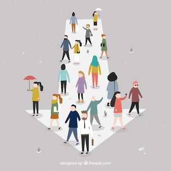 Composição plana com seta e pessoas