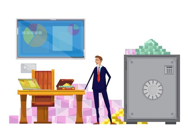 Composição plana com trabalhador financeiro