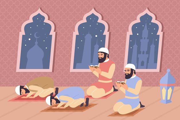 Composição plana da religião islâmica com personagens de homens árabes orando com cenário interno e ilustração de silhuetas de templo