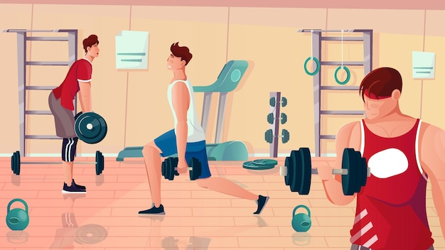 Composição plana de academia de musculação com vista de aparelhos de sala de ginástica e homens musculosos fazendo exercícios de levantamento de peso