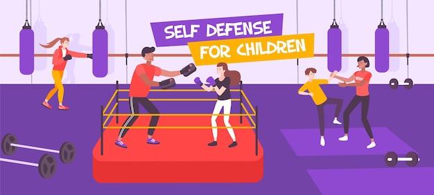 Composição plana de autodefesa infantil com texto e visualização interna da seção de boxe infantil