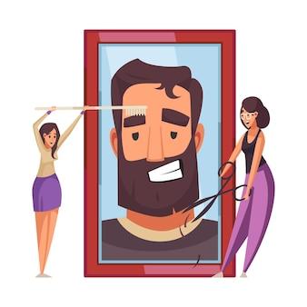 Composição plana de barbearia com dois estilistas cortando barba de homem e escovando sobrancelhas