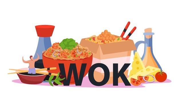 Composição plana de caixa wok com imagens de refeição asiática de fast food com macarrão e molho de soja