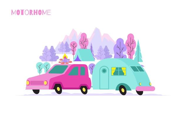 Composição plana de carro motorhome com cenário ao ar livre e carro com van de camping