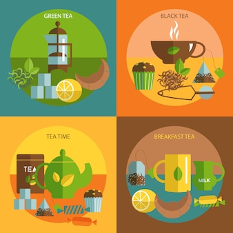 Composição plana de chá tempo ícones quadrados