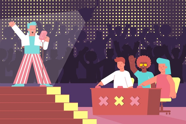 Composição plana de competição vocal com competição de canto por voz e personagens de juízes com cantor no palco