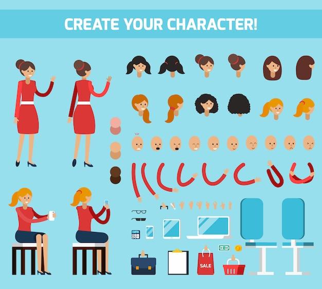 Composição plana de construtor de personagem feminina