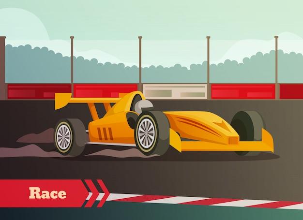 Composição plana de corrida de automóveis
