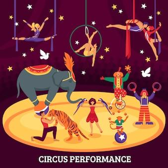 Composição plana de desempenho de circo