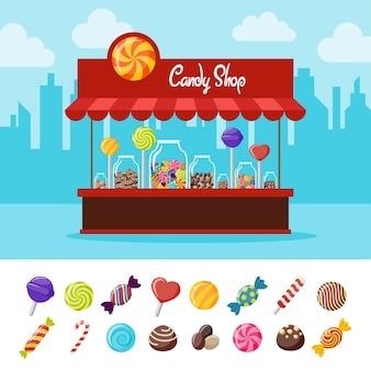 Composição plana de doces doces