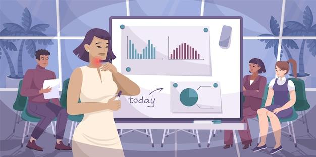 Composição plana de dor de garganta com personagens de cenário de escritório de colegas de trabalho e mulheres com sintomas de ilustração de frio