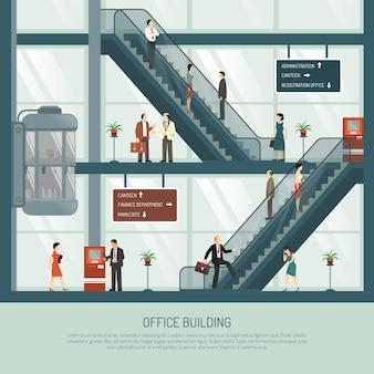 Composição plana de edifício de escritórios